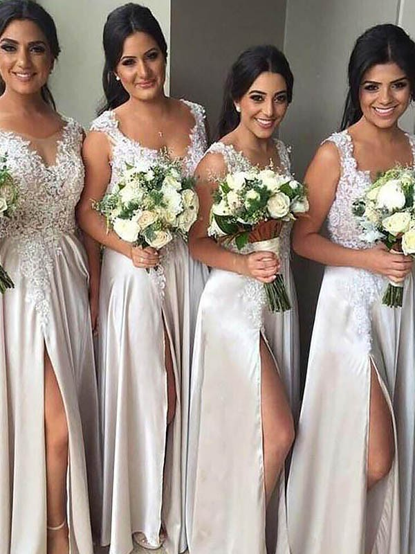 Satin Sheath Floor-Length V-neck Ivory Bridesmaid Dresses