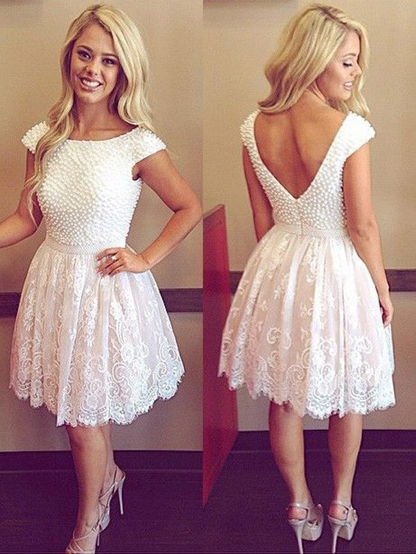 A-Line Scoop Short/Mini White Homecoming Dresses with Pearls