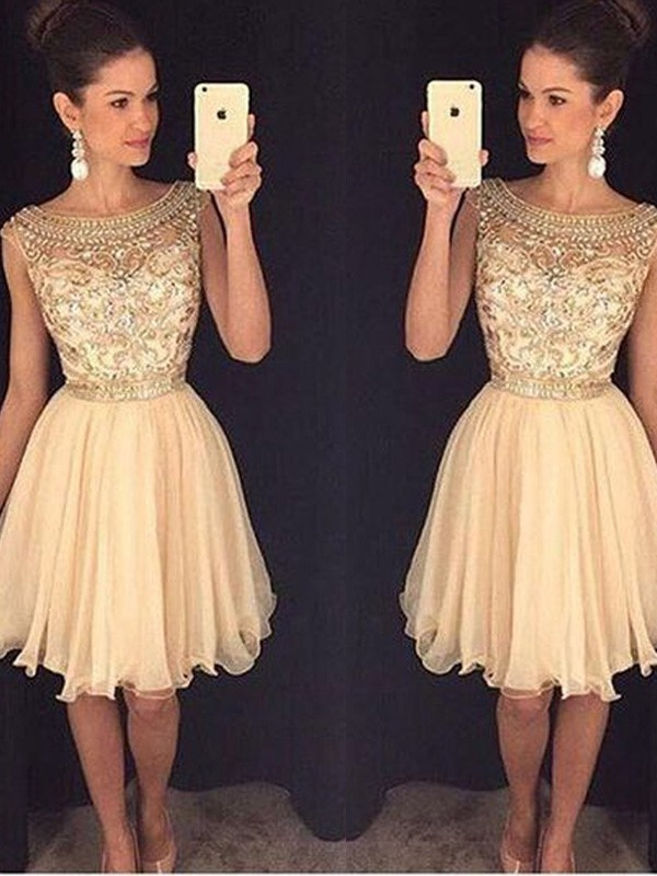 Champagne A-Line Scoop Short Homecoming Dresses with Beading
