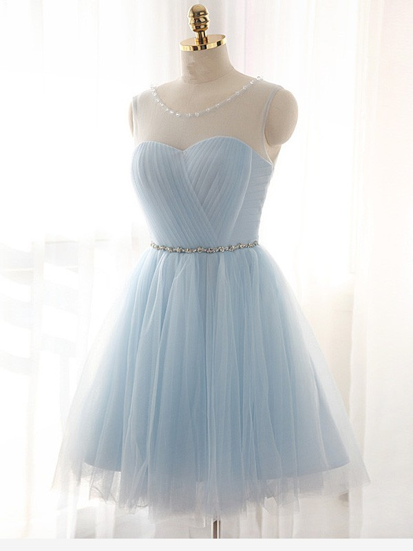 A-Line Scoop Short Light Sky Blue Homecoming Dresses with Beading