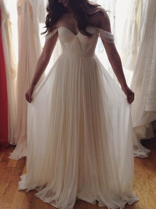 A-Line Off-the-Shoulder Floor-Length Ivory Prom Dresses with Beading