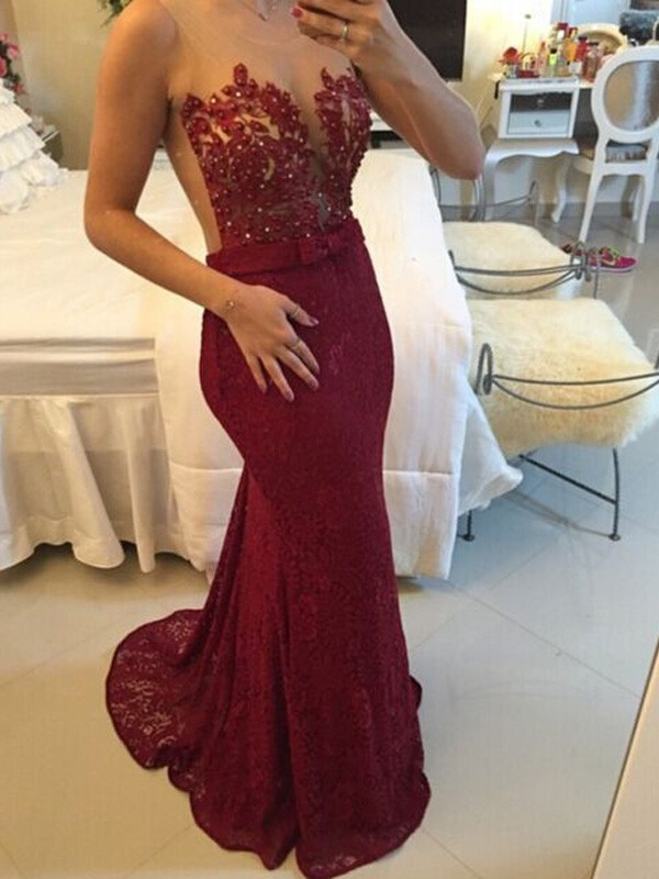Lace Scoop Brush Train Burgundy Prom Dresses