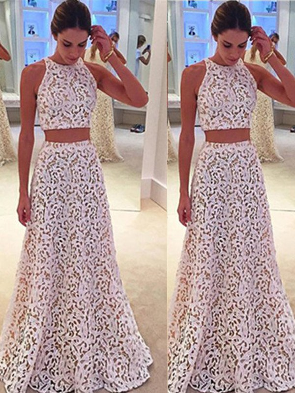 Lace A-Line Floor-Length Scoop Ivory Prom Dresses