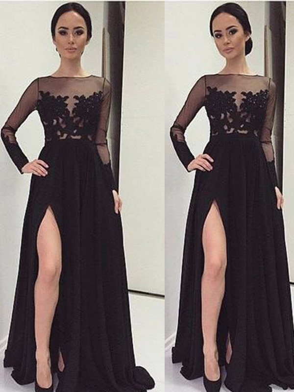 A-Line Chiffon Long Sleeves Bateau Floor-Length Black Prom Dresses