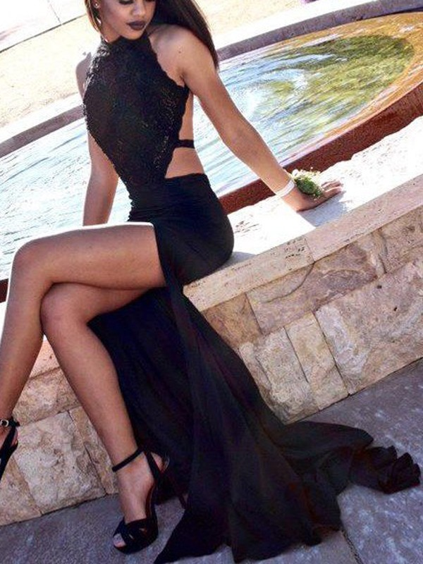 Halter Brush Train Black Prom Dresses