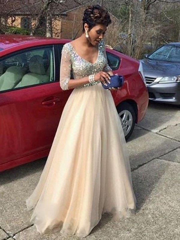 Ivory A-Line V-neck Floor-Length Prom Dresses with Beading