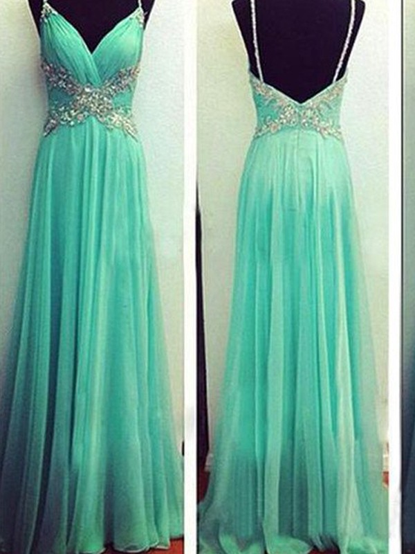 A-Line Spaghetti Straps Floor-Length Blue Prom Dresses