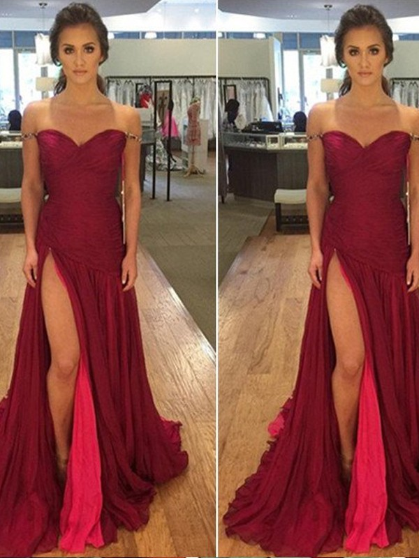 A-Line Off-the-Shoulder Floor-Length Burgundy Prom Dresses