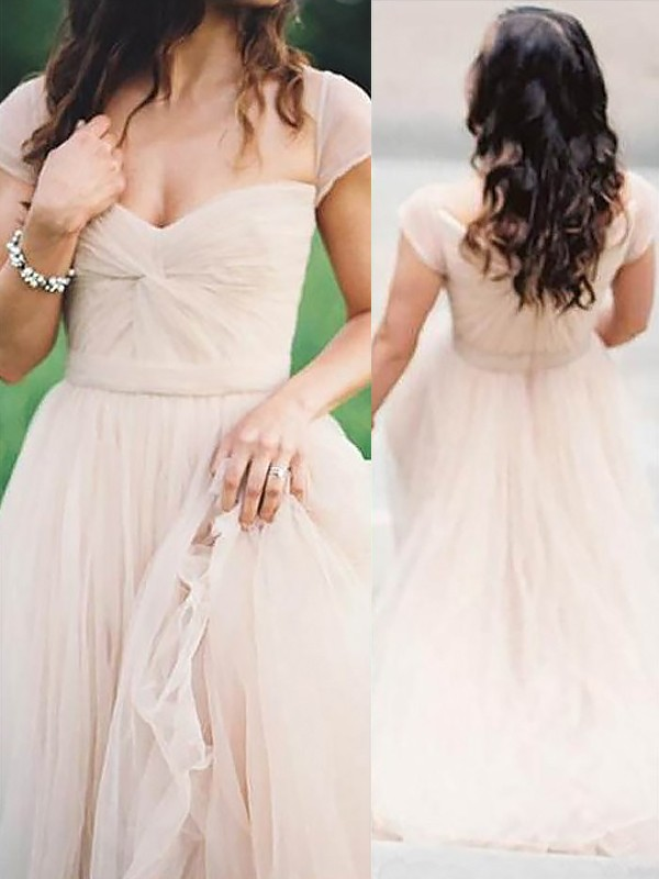 Sweetheart Floor-Length Pink Prom Dresses with Ruched