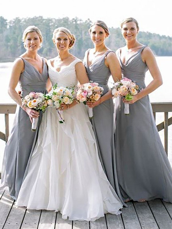 A-Line V-neck Floor-Length Grey Bridesmaid Dresses