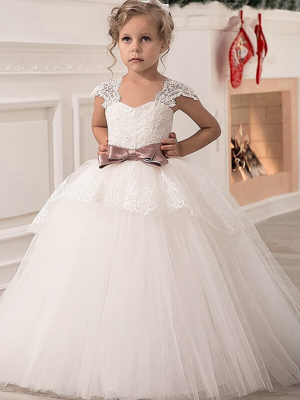 Tulle Straps Floor-Length Ivory Flower Girl Dresses