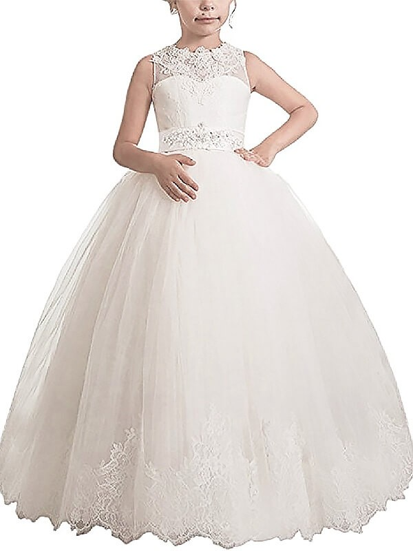 Tulle Scoop Floor-Length Ivory Flower Girl Dresses