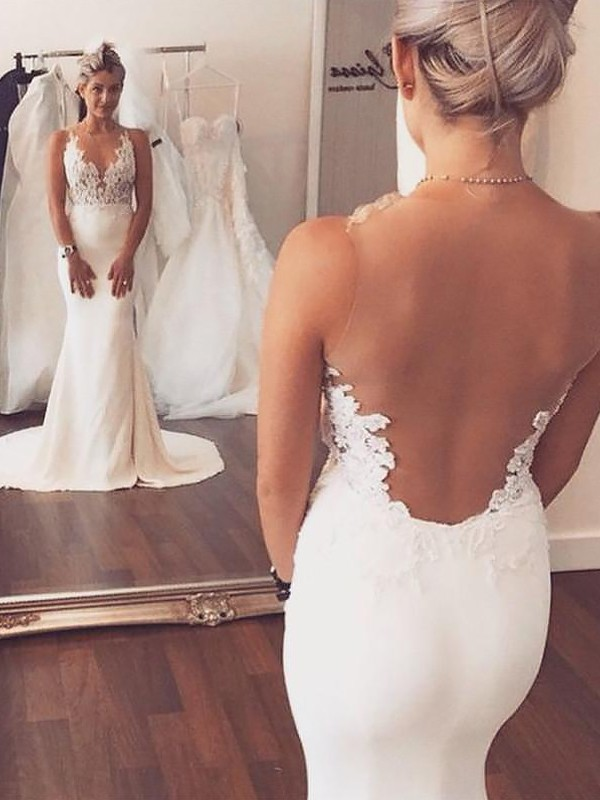 Mermaid Scoop Court Train Ivory Wedding Dresses with Applique