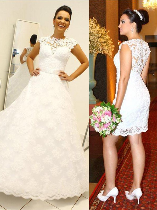 Ball Gown Lace Scoop Floor-Length Wedding Dresses