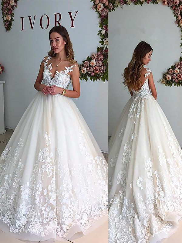 A-Line V-neck Court Train Ivory Wedding Dresses