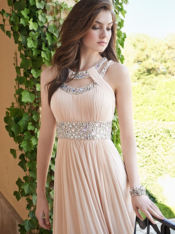 A-Line Bateau Floor-Length Prom Dresses with Beading
