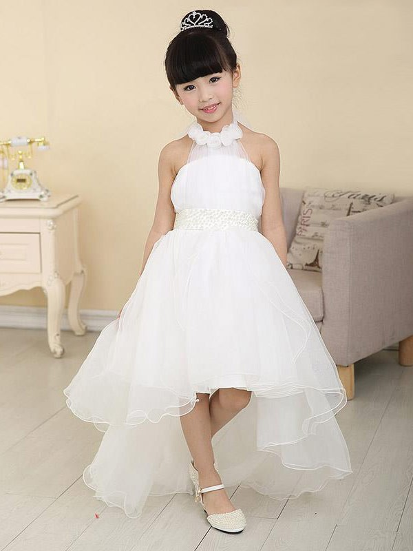 Organza High Neck Asymmetrical White Flower Girl Dresses