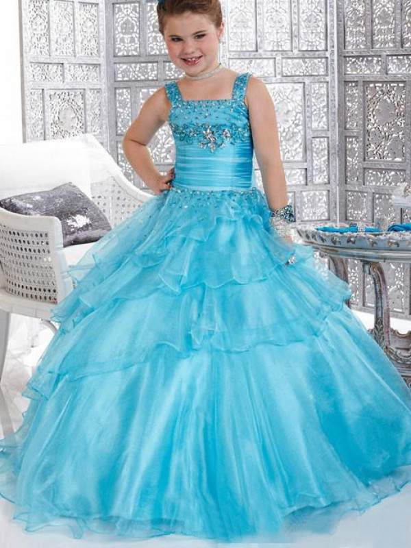 Ball Gown Straps Long Blue Flower Girl Dresses with Ruffles