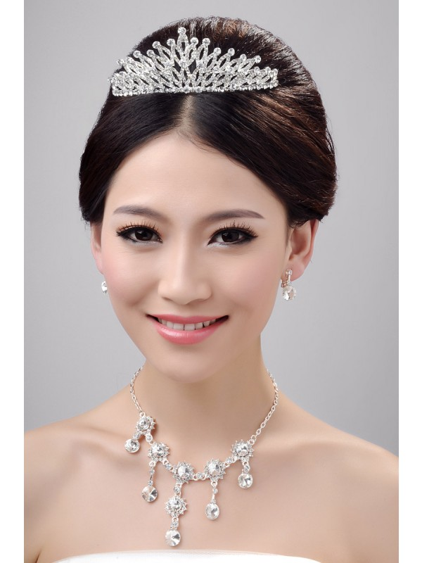 Nice Alloy Clear Crystals Wedding Party Earrings Set