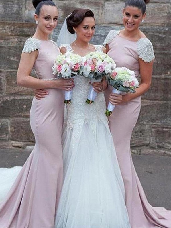 Trumpet/Mermaid Bateau Sleeveless Sweep/Brush Train Beading Satin Bridesmaid Dresses