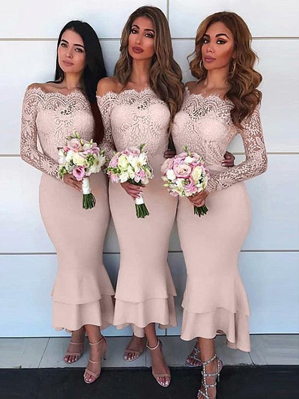 Sheath/Column Off-the-Shoulder Long Sleeves Ankle-Length Lace Chiffon Bridesmaid Dresses