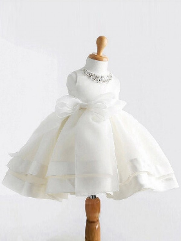 Satin Jewel Tea-Length White Flower Girl Dresses