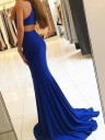 Sheath Halter Sleeveless Sweep/Brush Train With Ruffles Satin Dresses